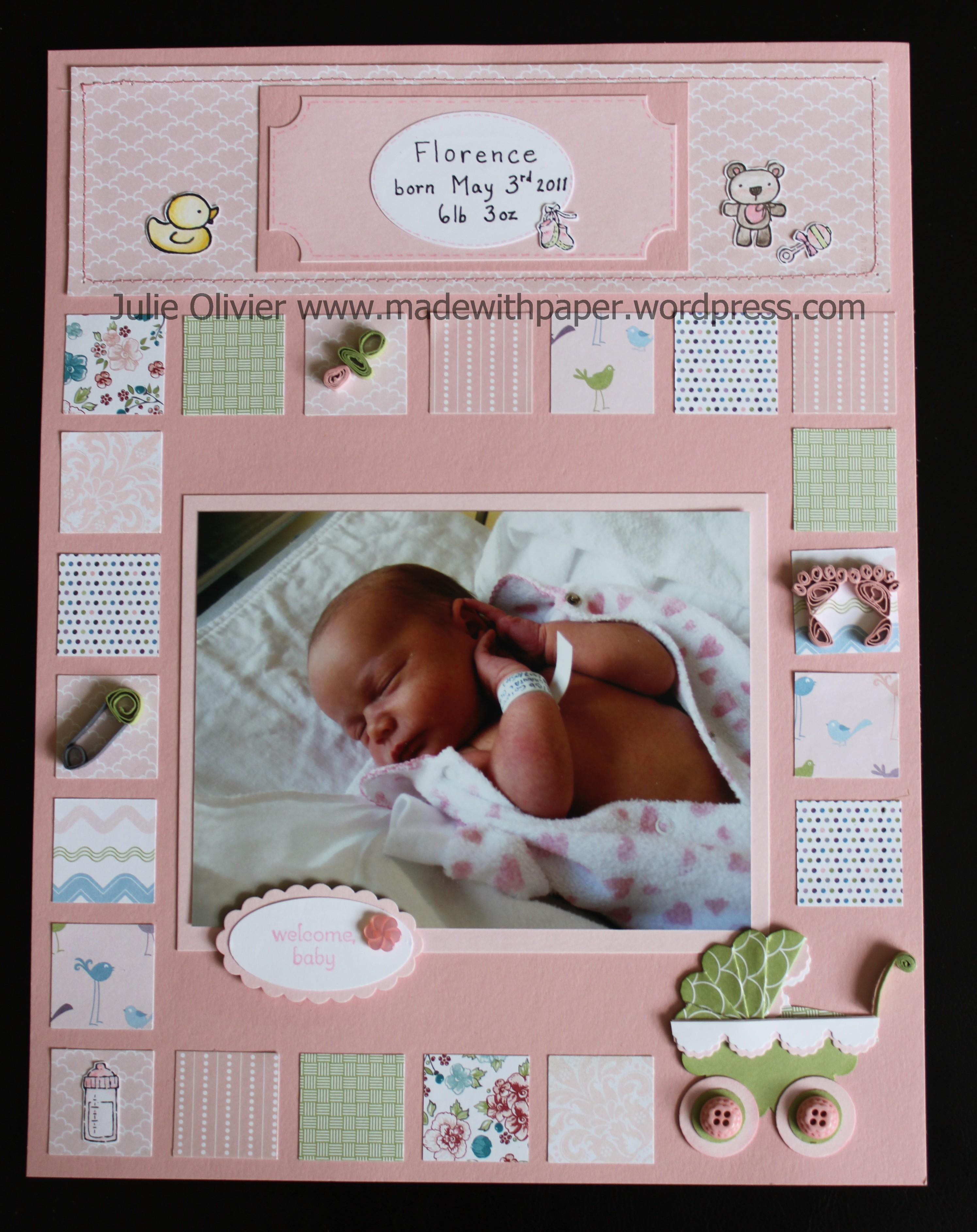 Baby scrapbook page ideas - Details